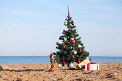 Christmas tree on tropical beach holidays