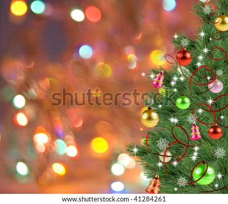 christmas-tree on varicoloured new year's background - Shutterstock ID 41284261