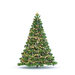 Christmas tree on white background.