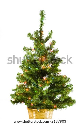 Christmas tree on white background with starburst lighting effect