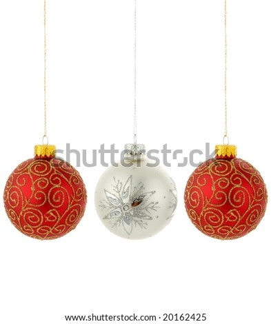 Christmas tree ornaments hanging on white