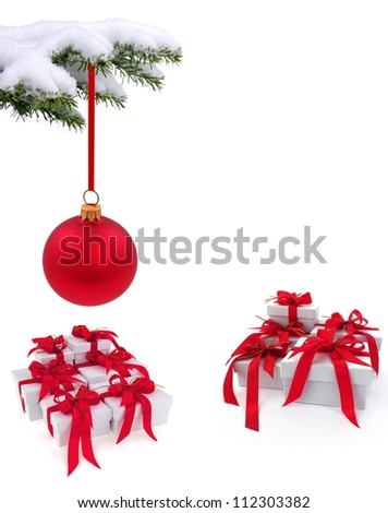 Christmas  tree over gift with red ribbon