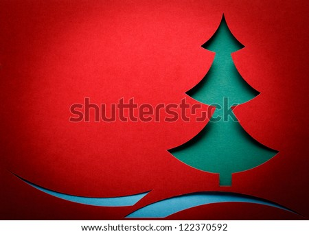 Christmas tree paper cutting design card
