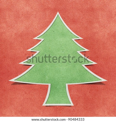 Christmas tree recycled papercraft background