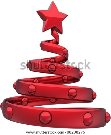 Christmas tree red abstract decorated with balls and a shiny star. Happy New Year eve bauble toy stylized traditional Xmas holidays icon concept. Detailed 3d rendering. Isolated on white background
