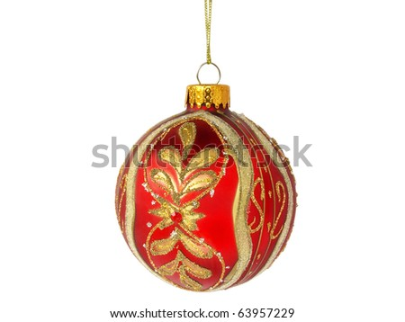 christmas tree red ball decoration isolated on white background
