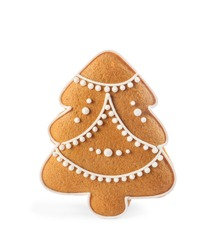 Christmas tree shaped cookie isolated on white