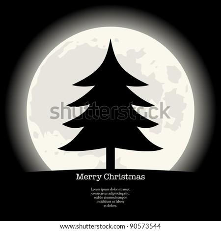 Christmas tree silhouette. - stock photo
