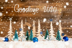 Christmas Tree, Snow, Blue Star, Goodbye 2020, Wooden Background, Snowflakes
