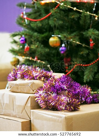 Christmas Tree Surrounded By Cardboard Boxes Ez Canvas