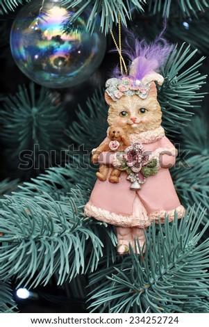 Christmas tree toy cat on tree