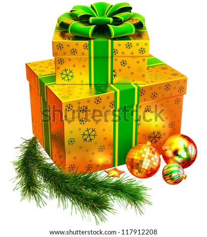 Christmas tree toys and set of golden boxes ornamented with the snowflakes and decorated by green bow as gifts