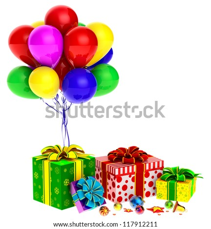 Christmas tree toys and set of pink, yellow, green and white boxes ornamented with the snowflakes and decorated by bows and bunch of balloons as gifts