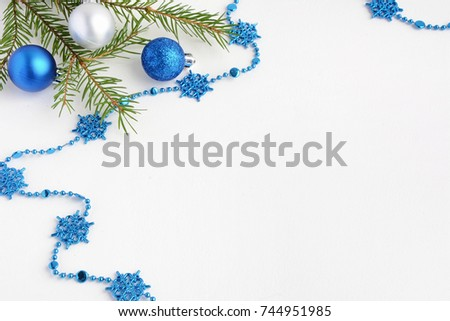 Christmas Tree Toys On A White Background Decorations Surface Balls