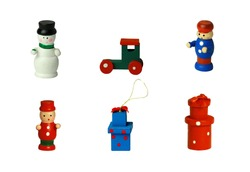 Christmas tree toys on an isolated background, colored