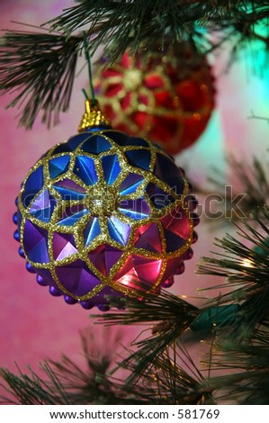 Christmas Tree - Vintage Christmas ornaments in colors of purple, blue, fucshia and red.