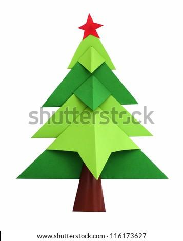 Christmas tree white isolated origami
