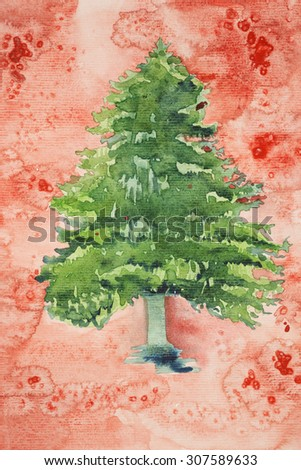 Christmas tree with a spotted red background. The dabbing technique gives a soft focus effect due to the altered surface roughness of the paper.