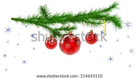 Christmas tree with balls and decorations on the background of stars  on white background