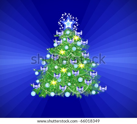 Christmas tree with balls and stars on blue rainbow background - stock photo