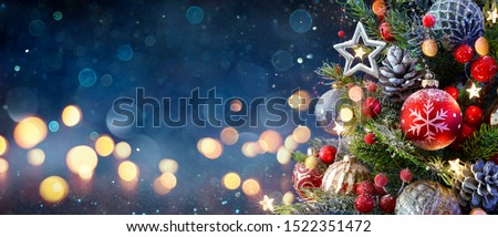 Christmas Tree With Baubles And Blurred Shiny Lights  #1522351472
