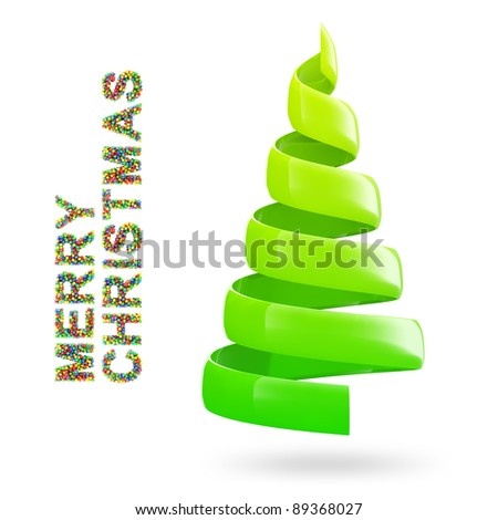 Christmas tree with colorful MERRY CHRISTMAS text on white background
