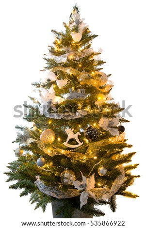 Christmas tree with colorful ornaments, isolated on white Zdjęcia stock ©