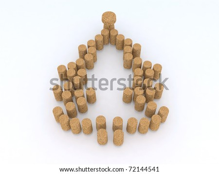 Christmas tree with corks 3d illustration