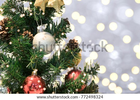 Christmas tree with decorations and snowflake on bokeh background. for Happy New Year 2018  #772498324