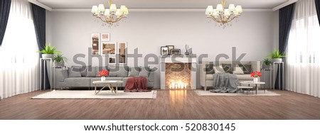 Christmas tree with decorations in the living room. 3d illustration. #520830145