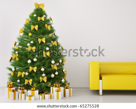 Christmas tree with decorations in the room with sofa interior 3d render