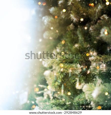 Christmas tree with defocused lights #292848629