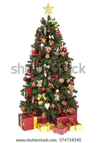 Christmas tree with gift boxes isolated on white background