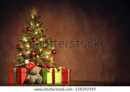 Christmas Tree with Gifts Christmas concept