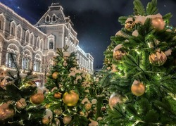 Christmas tree with golden balls and lamps on it covered with a snow, beautiful palace decorated with many lights on background. Snow is falling in the night sky. Concept New Year, Christmas.