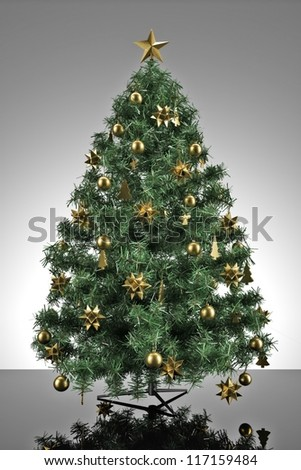 Christmas tree with grey stage and reflective ground