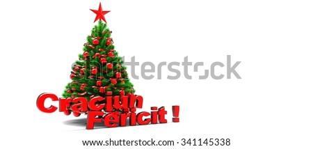 Christmas tree with happy Christmas write in Romanian language / Merry Christmas  Imagine de stoc ©