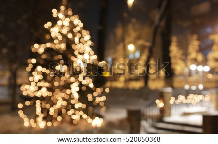 Christmas tree with lights glowing
