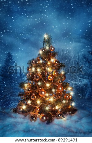 Christmas tree with lights in winter