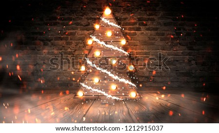 Christmas tree with lights on the wooden floor, lights, lights, lights, glare, smoke. Christmas tree made of wood, New Year's loft, light object, interior decor. Abstract dark background, night view,  #1212915037