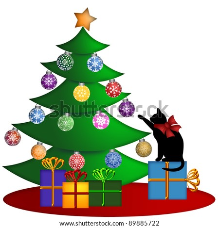 Christmas Tree with Ornaments and Cat Sitting on Presents Illustration