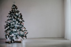 Christmas tree with ornaments on a white background Christmas new year
