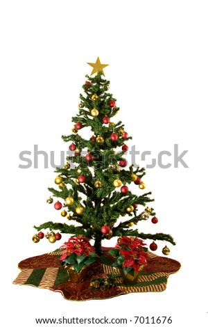 Christmas Tree with red and yellow christmas ornaments isolated on white background - Shutterstock ID 7011676