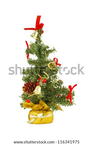 Christmas tree with red ornaments