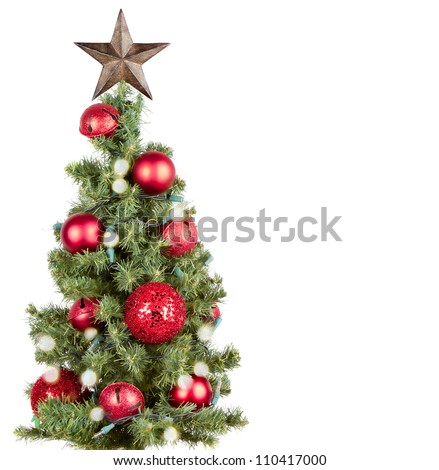 Christmas tree with red ornaments and star, isolated on white
