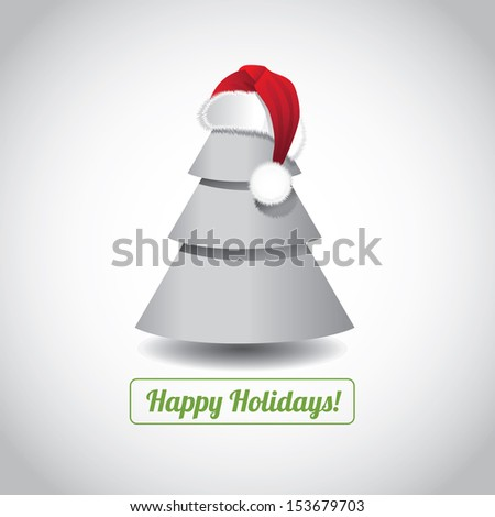 Christmas Tree with Santa Hat Greeting Card design. jpg