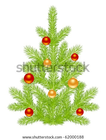 Christmas tree with simple decoration. Isolated on a white.