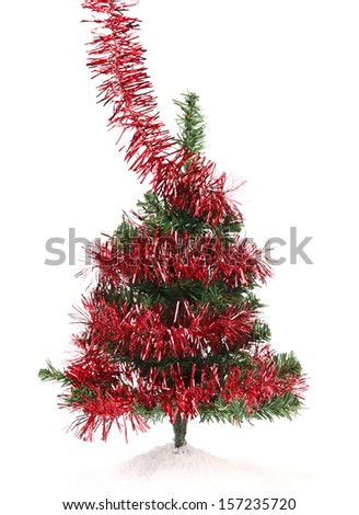 Christmas tree wrapped in tinsel. White background.