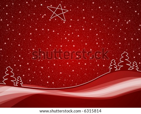 christmas trees in red winter snowfall scene with star