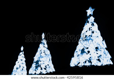 Christmas trees made from indigenous materials from the Philippines - stock photo